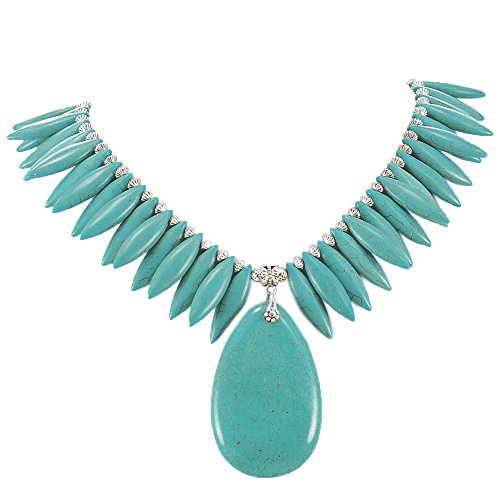 - 002 Ny6design Blue/Teal Magnesite Turquoise & Pendant Necklace w/Silver Plated Toggle 19