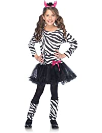 Costumes 3Pc.Little Zebra Petticoat Dress with Tail Warmers Ear Headband, Black/White, Small