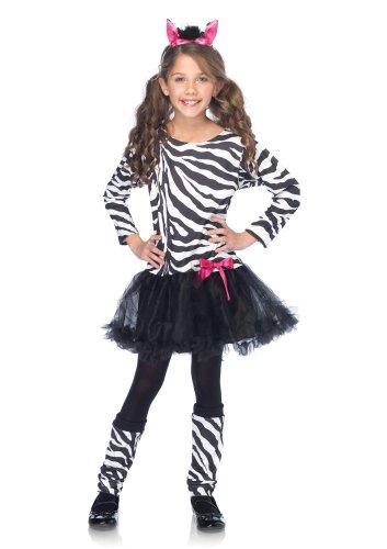 Leg Avenue Costumes 3Pc.Little Zebra Petticoat Dress with Tail Warmers Ear Headband, Black/White, Small