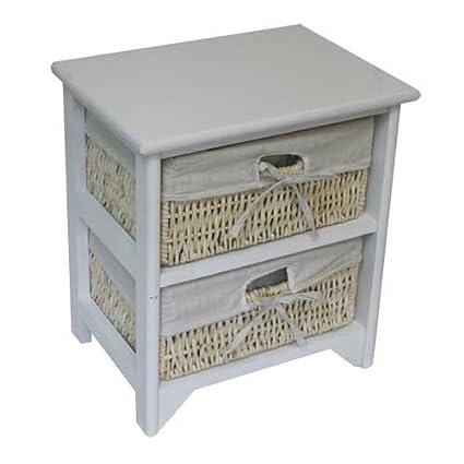 JVL Mueble con 2 cajones (mimbre y madera), color blanco: Amazon.es ...