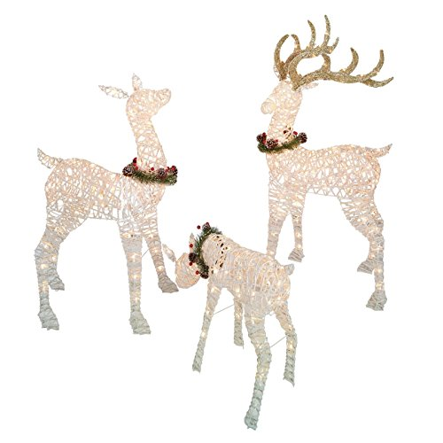 bestbuystore us 52in christmas deer family pre lit w 220 clear lights holiday yard