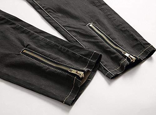 In Strappati Media Alla Retrò Buchi Moda Uomo Khakiblack Pantaloni Da Vita Denim Jeans Casual Con A Abbigliamento Elasticizzato Stretch Rp77Hq