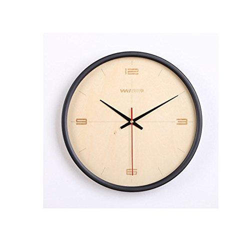 クリエイティブなリビングルームのベッドルームモダンな日本式クォーツ無垢材の壁時計 (Color : D) B07CSML6ZVD
