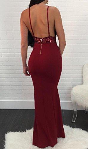 Sera Vino Paillettes Collo V Coolred Di Abito Rosso Rappezzatura Aprire Partito Sling Nuovo Da donne Sexy SEOqwUv