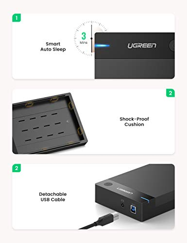 UGREEN External Hard Drive Enclosure for 3.5 2.5 Inch SATA SSD HDD USB 3.0 to SATA III Hard Drive Case with UASP 12V Power Adapter Compatible with WD Seagate Toshiba Samsung Hitachi PS4 Xbox