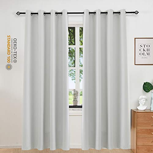 Allbright Thermal Insulated Curtains Blackout Draperies, Window Treatment Solid Grommet Room Darkening Drape Panels for Bedroom (2 Panels, 52 x 96 Inch, Greyish White)