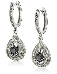 10k White Gold Black and White Diamond Drop Earrings (1 1/4 cttw)