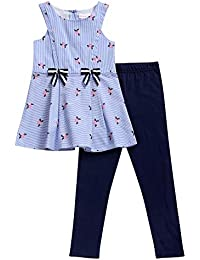 Kids & Baby Matching Legging and Striped Mini Dress Set-Casual Fashion Clothes for Little Girls
