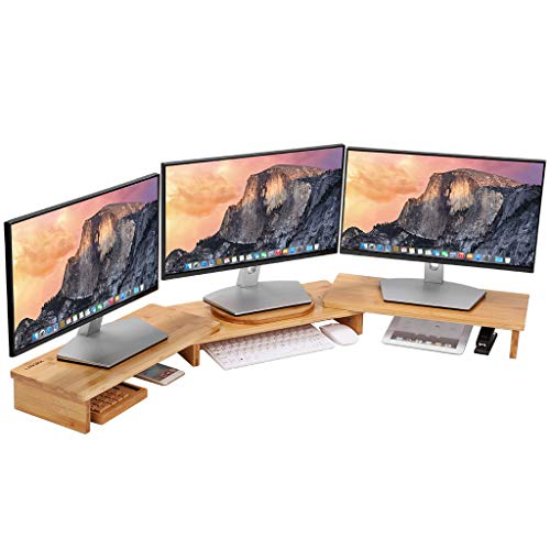 LANGRIA Bamboo Wood Monitor Stand Riser 3 Shelf for Dual Triple Screens Personal Computer, Office Desktop, Ergonomic Design with Desktop Organizer and Storage Space Adjustable Length and Angle