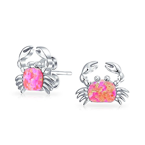 Nautical Beach Pink Created Opal Sand Crab Stud Earrings For Women 925 Sterling Silver 9MM October ()