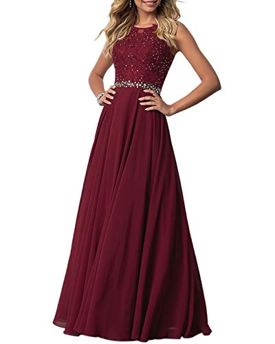 Roiii Women's Sleeveless Lace Appliques Maxi Evening Gown Chiffon Beaded Formal Bridesmaid Party Long Dress (Large, Wine Red) ()