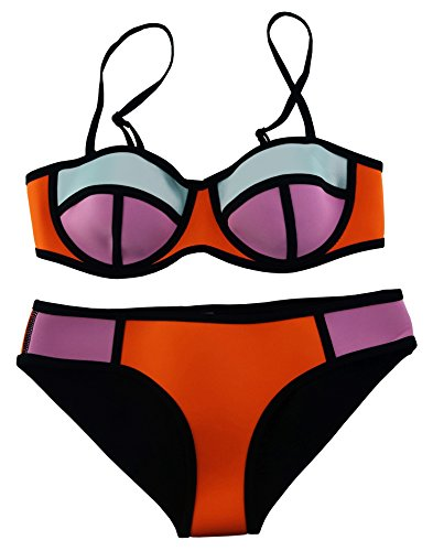 Cocoship Orange Diving Suit Neoprene Push up Bikini Black Stripe Colorful Bathing Swimwear Swimsuit S(FBA)