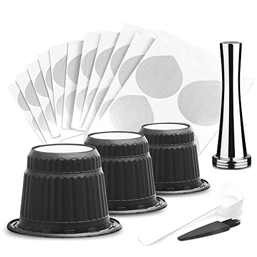 BRBHOM disposable coffee capsule with sealed aluminum Capsules Espresso Coffee Capsules Compatible with Nespresso Original Line Machines (100 Pods,100 Lids,1 Spoon,1 Tamper)