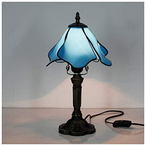 YYF Mediterranean Blue Lotus Table Lamp - Living Room Bedroom Bar 20cm (8 inches) ()