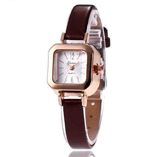 Youcoco Women Fashion Synthetic Leather Band Square Analog Quartz Wrist Watch Bracelet Bangle Wrist Watches (Bracelet Bangle Watch Quartz)