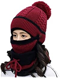 Women Winter Knit Beanie Hat with Windproof Mask Scarf Outdoor Three-Piece  Suit(Hat ce2560aac2bc