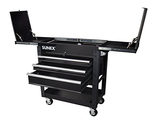 Sunex 8035XTBK 3 Drawer Service Cart with Sliding Top- Black