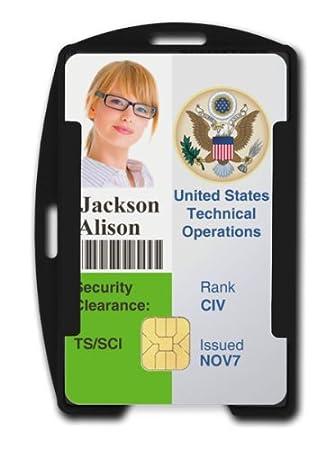 amazon com black rfid blocking id badge holder holds 2 cards