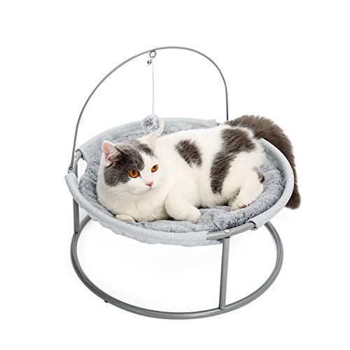 Made4Pets Cat Bed Soft Plush Cat Hammock Detachable Pet Bed with Dangling Ball for Cats, Small Dogs Grey