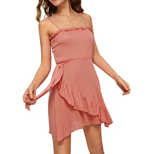 - Answerl☀ Women's Summer Spaghetti Strap Solid Color Ruffle Hem Tie Waist Backless Asymmetrical Hem Mini Dress Pink