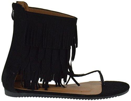 Voor Altijd Omarmen 7 Dames Pony Platte Gladiator Sandalen Zwart