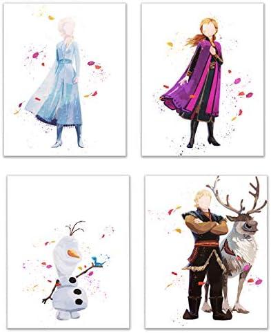 [해외]Frozen 2 Watercolor Prints - Set of Four (8x10) Wall Art Decor / Frozen 2 Watercolor Prints - Set of Four (8x10) Wall Art Decor