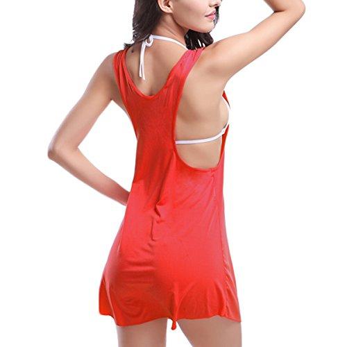 Mujer vestidos de Chaleco Verano moda Vestido de playa atractivo sin mangas casual mini vestido ropa mujer Rojo
