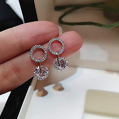 Pendientes de circón de cristal redondo blanco de tendencia Mujeres Moda Color plata Pendientes de boda de diamantes de imitación Joyas Regalos de fiesta