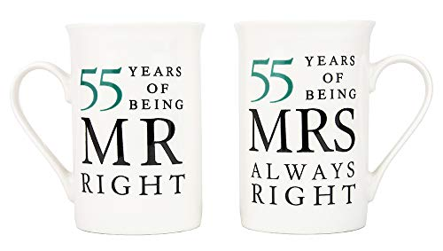 Ivory 55th Anniversary Mr Right & Mrs Always Right Ceramic Mugs Gift Set Thoughtful and Unique Gift Idea Dishwasher and Microwave Safe by Happy Homewares