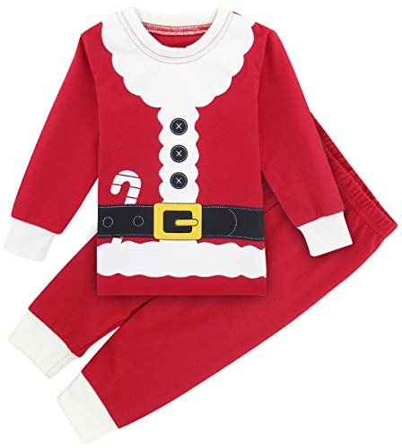 A&J DESIGN Kids Boys' Christmas Santa Pajamas 2 Piece Set (5, Santa Claus) ()