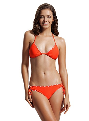 zeraca Women's Tie Side Bottom Triangle Bikini Swimsuits (M10, 56 Neon Orange)