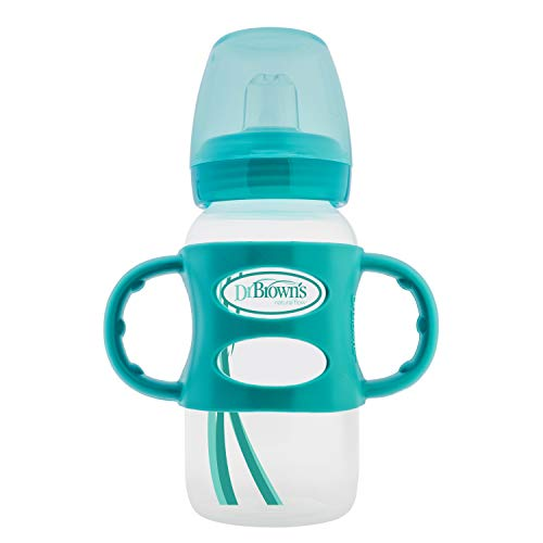 Dr. Brown's Options Wide-Neck Sippy Spout Baby Bottle with Silicone Handle, Turquoise, 9 Ounce