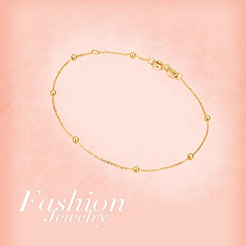 SISGEM 18K Gold Bracelet for Women, Bead Ball Dainty Chain Bracelets Fine Jewelry (Yellow Gold) by SISGEM (Image #5)