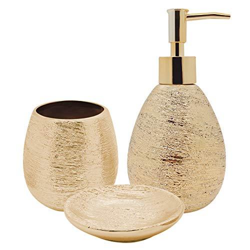 Conjunto De Banheiro Lunar Dourado Mimo Style Dourado