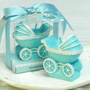 (Sweet Homes & Gardens Baby Pram Candle Mini Buggy Birthday Cake Topper Baby Shower Favors Party Decoration (Blue))