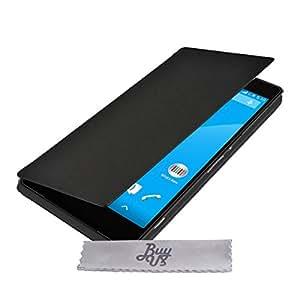 Estuche de lujo de cuero para billetera para Sony Xperia M4 Aqua - Funda de cuero + 3 Lámina protectora