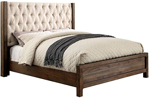 Carefree Home Furnishings Hutchinson Transitional Style Rustic Natural Tone Finish Queen Size 6-Piece Bedroom Set