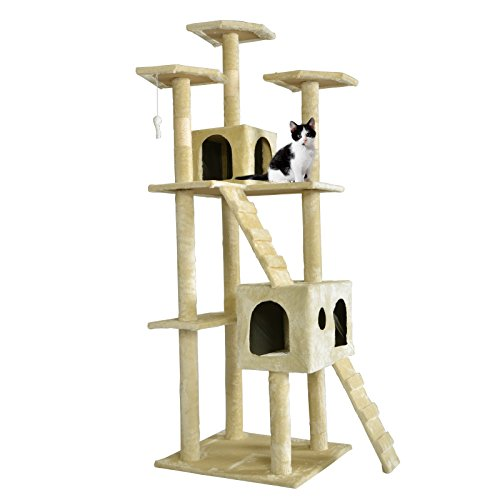 BestPet CT-9073 Cat Tree Scratcher Play House Condo Furniture Toy, 73-Inch, Beige