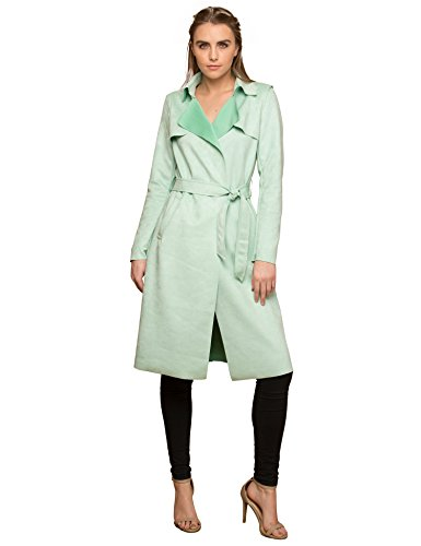 3 Womens Suede Coats Long Duster Jacket Trench Coat with Belt L Mint ()