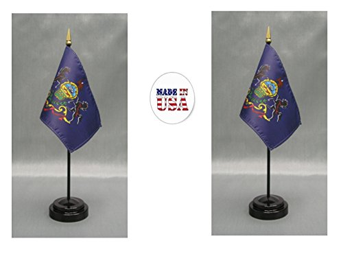 """Made in the USA. 2 Pennsylvania 4""""x6"""" Miniature Desk & Table Flags Includes 2 Flag Stands & 2 Pennsylvania State Small Mini Stick Flags"""