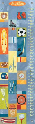 All Star Growth Chart - Oopsy Daisy, Fine Art For Kids PE2898 Growth Chart All-Star Boy Growth Chart