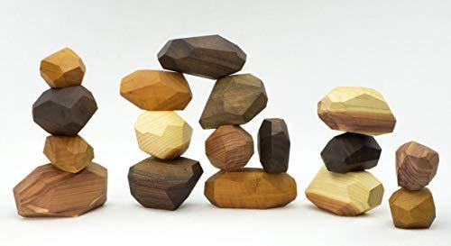 17 Piece Tumi Ishi Wood Rock Set - Mixed Wood Species - Balancing Blocks - Natural Wood Toy - Organic Jojoba Oil and Beeswax Finish - Open-ended Educational Montessori Toy - Sensory Toy - USA Made
