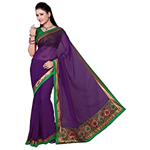 Shilp-Kala Faux Chiffon Border Worked Purple Colored Saree SKSWG410