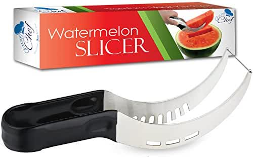 Watermelon Slicer Corer & Server, Cutter Tongs for Melons & More, Stainless Steel Knife Peeler by Chuzy Chef