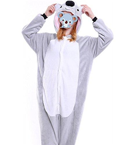 LadyKing Onesie Koala Bear Pajamas Animal Cartoon Unisex Sleepwear Costumes Cosplay for Halloween,Christmas,New Year XL