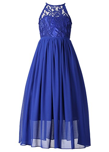 5th Grade Graduation Dress (Happy RoseGirls LacePartyWeddingLongChiffonJuniorBridesmaidDress Royal Blue)