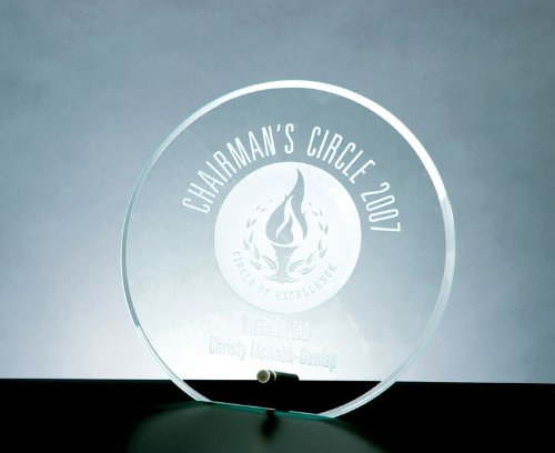 CrystalsBuy Beveled Jade Glass Circle Award with Aluminum Pole - Small