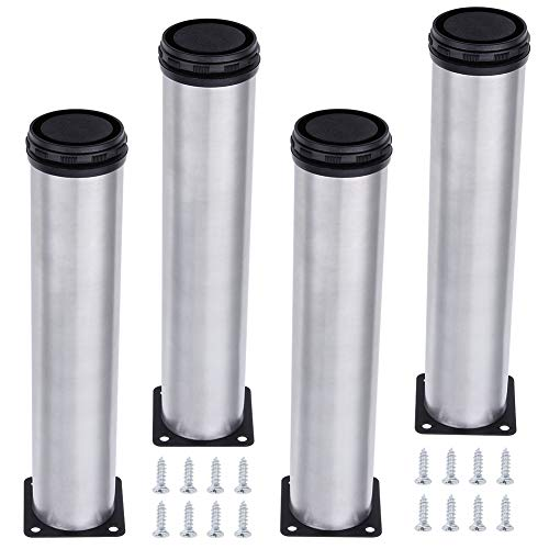 AOWISH 4-Pack Stainless Steel Furniture Legs Furniture Foot Upgraded & Thickened Cabinet Metal Legs 2 Inch Diameter Shelves Sofa Table Kitchen Adjustable Feet with 16 Screws (12 Inch Height | 300 mm)