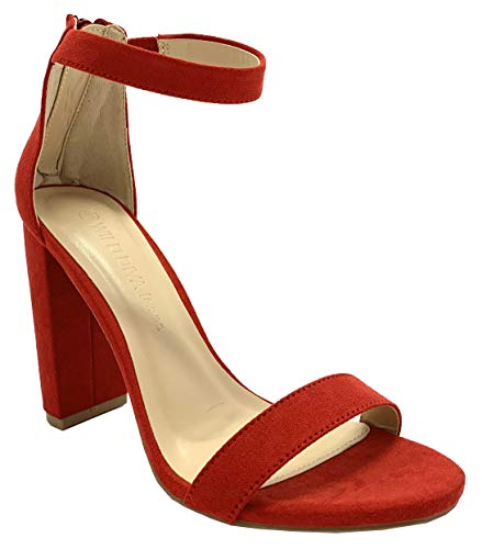 Wild Diva Women's High Chunky Block Heel Pump Dress Heeled Sandals (9 M US, Red Venus Suede 2)