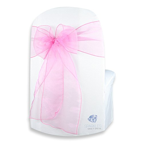Sparkles Make It Special 20-pcs Organza Chair Cover Bow Sash - Hot Pink - Wedding Party Banquet Reception - 28 Colors Available ()